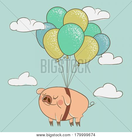 Cute pig flying with balloons.Swine is happy.Childish vector illustration