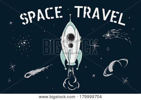 scientific vector illustration.Space travel of rocket in deep cosmos. Childish cartoon style