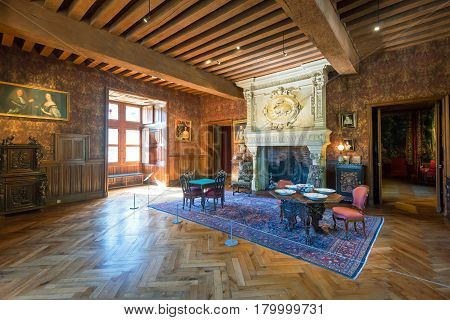 FRANCE - SEPTEMBER 23, 2013: Interior chateau de Azay-le-Rideau. This castle is located in the Loire Valley, was built from 1515 to 1527 one of the earliest French Renaissance chateaux.