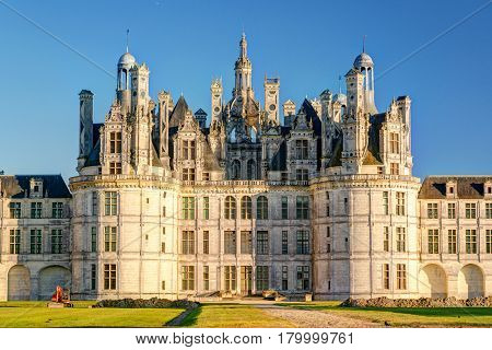 The royal Chateau de Chambord, France. This castle is located in the Loire Valley, was built in the 16th century and is one of the most recognizable chateaux in the world.
