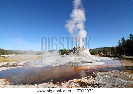 Castle Geyser in Yellowstone National Park in Wyoming