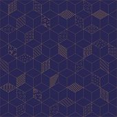 Memphis seamless pattern 80s-90s-vector illustration. Geometric seamless pattern of cubes with different geometrical patterns. Blue with gold ornament of cubes. poster