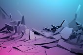 Abstract 3d rendering of cracked surface. Background with broken shape. Wall destruction. Bursting with debris. Modern cgi illustration. Design for poster, banner, placard, cover, print. poster