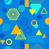 Abstract seamless pattern in postmodern Memphis Style blue yellow orange for wallpaper or package or for clothes or for creative design summer holiday poster