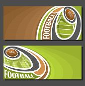 Vector banners for American Football game: thrown football ball on curve trajectory flying above sports field, 2 tickets to sporting tournament with empty for title text on brown abstract background. poster