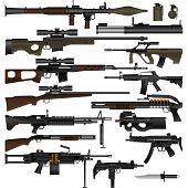 Layered vector illustration of various weapons with white background. poster