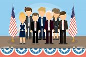Group of american politicians standing on the stage with american flags. poster