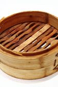 Chinese steamed dimsum in bamboo containers traditional cuisine poster