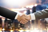 M&A (MERGERS AND ACQUISITIONS) Businessman handshake working at office M&A poster