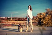 young woman with her dog stand on the road, summer day poster