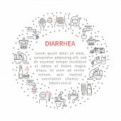 Diarrhea. Causes, symptoms and treatment. Vector artwork in a linear style. poster