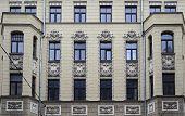 Riga, Matisa street 43, Art Nouveau architect Janis Alksnis, architectural details poster