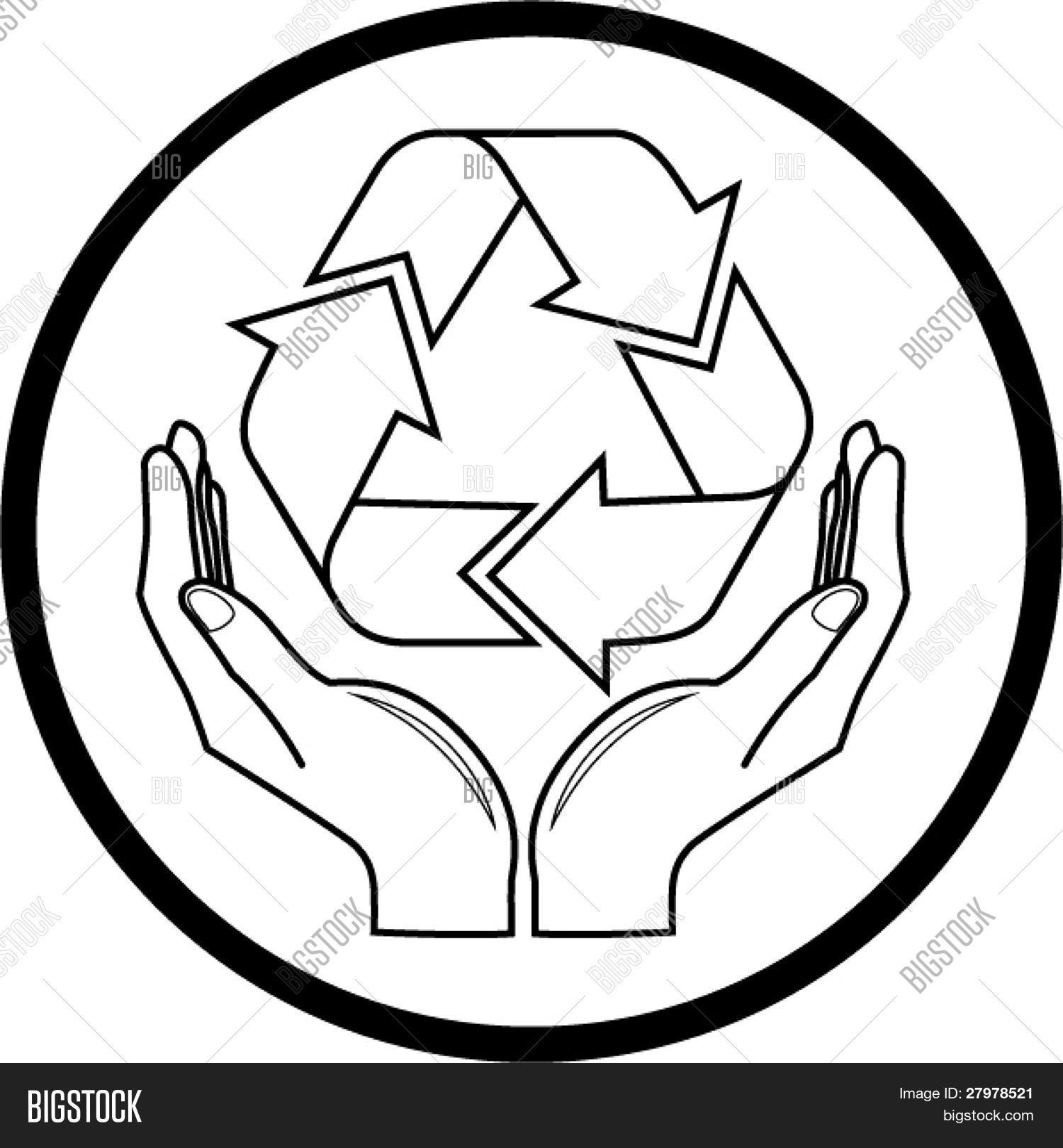 Vector recycle symbol hands icon vector photo bigstock vector recycle symbol in hands icon black and white simply change biocorpaavc