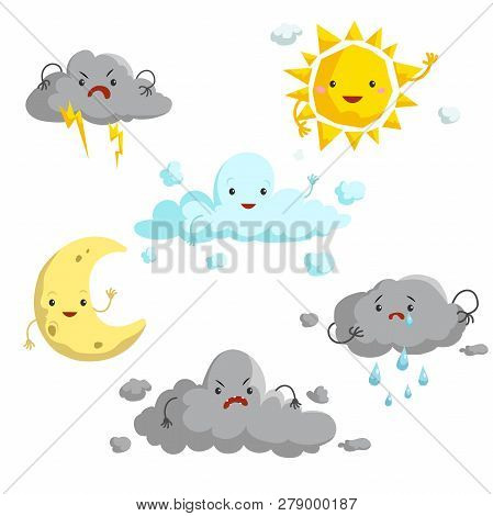 Cartoon Weather Mascots Set. Comic Anime Style Characters. Sun, Clouds, Rain, Crescent, Thunderstorm