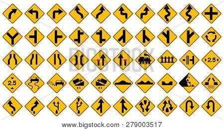 Collection Of Warning, Prohibition And Information Yellow Traffic Signs For Drive Safety On Highway