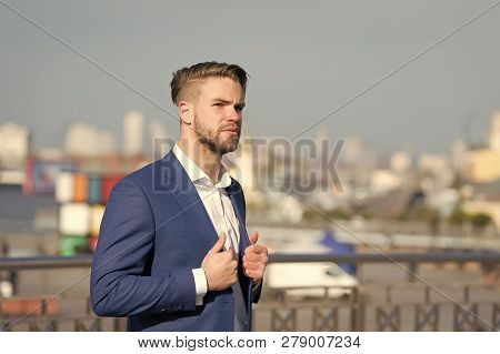 Businessman Or Ceo Urban Fashion. Man In Formal Outfit Outdoor. Business And Success. Manager With B