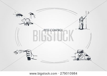 Pest Control - Mouse, Spray And Special Worker Struggling With Pest Vector Concept Set. Hand Drawn S