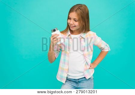 Happy Little Girl. Kid With Cream Jar. Girl Hold Vitamins. Beauty And Fashion. Small Girl Child With