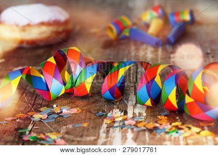 Colorful Carnival Decoration With Sweet Pastry For A Party
