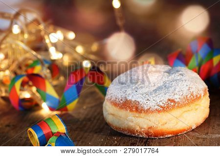 Sweet Donut On A Colorful Carnival Celebration