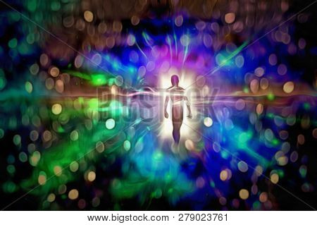Figure emerges from vivid light. 3D rendering