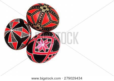Perfect Ethnical Handmade Easter Eggs Isolated On A White. Ethnical Style