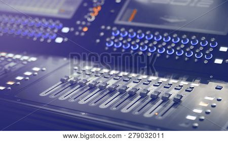 Light and Sound control mixer for Event on stage. Professional backstage device equipment. Professio