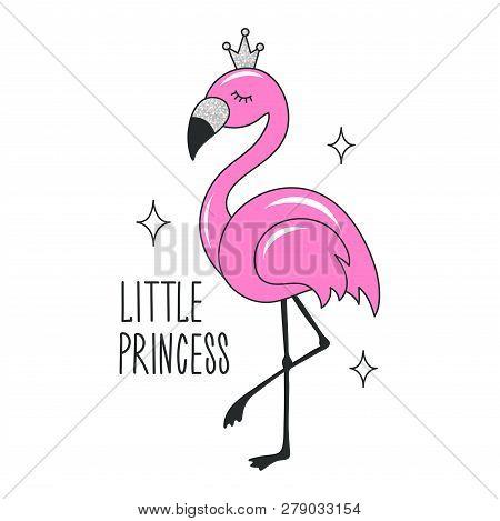 Art Glitter Flamingo Drawing For T-shirts. I Believe In Flamingo Text. Design For Kids. Fashion Illu