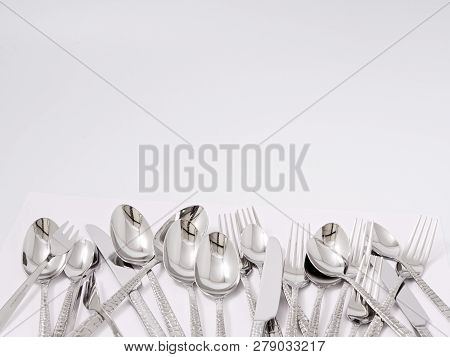 Silverware Forks Spoons Knives Cutlery On A White Background