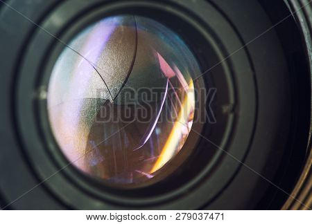 Camera Lens With Lense Reflections Modern Ultra Zoom Photo Camera Front View,black Dslr Camera,