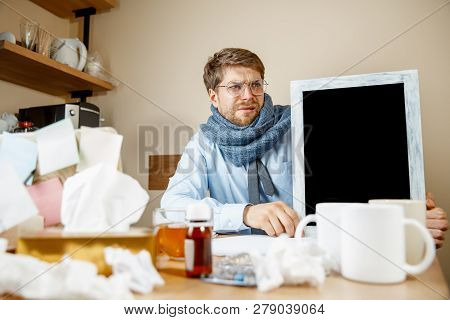 Sick Man With Empty Poster For Copyspace While Working In Office, Businessman Caught Cold, Seasonal