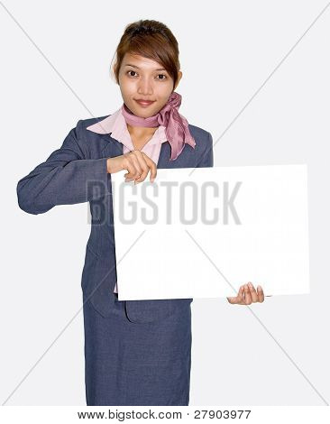 Businesswoman with empty board