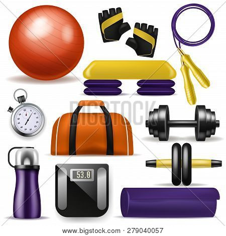 Fitness equipment vector bodybuilding dumpbell fitball and step board for sport exercises in gym illustration set of fit mat sportive bottle and workout jump rope isolated on white background poster