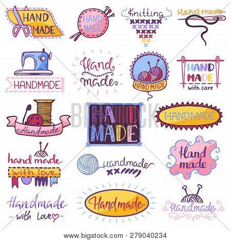 Handmade Logo Vector Sewing Knitting Handcraft Hobby Workshop Logotype Illustration Set Of Crochetin
