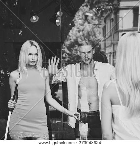 Friends Man And Girls At Shisha Cafe Lounge. Woman Sensual With Hookah Pipe In Bar. Addiction, Bad H
