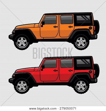 Red And Orange 4x4 Off Road Vehicle Suv Side View Illustration In Cartoon Style. Expedition Off Road