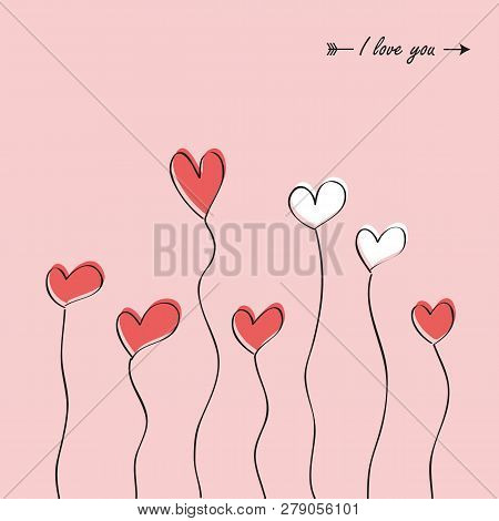 Pink And White Hearts Simple Drawing For Wedding And Valentines Day Vector Illustration Eps10
