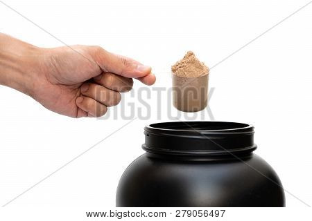 Whey Protein Powder Chocolate Flavour Isolated With Scoop Measure For Fitness And Bodybuilding Gaini