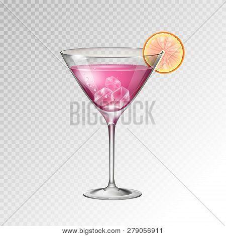 Realistic Cocktail Cosmopolitan Glass Vector Illustration On Transparent Background