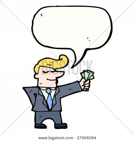 rich businessman with fistful of cash cartoon
