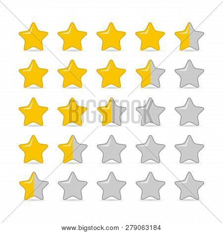 Rating Or Customer Review With Gold Stars And Half Star Line Isolated On White Backround.  Feedback