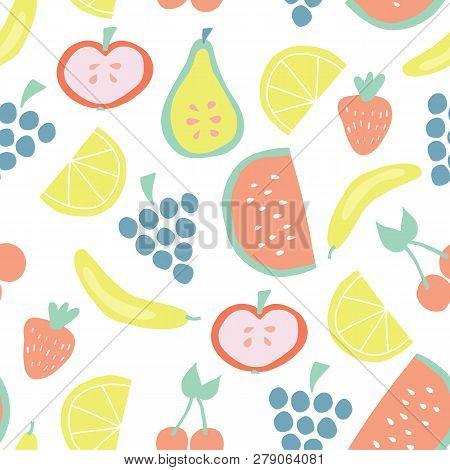 Summer Fruit Vector Background With Bananas Apples Pear Grapes Lemons Cherries Strawberries Watermel
