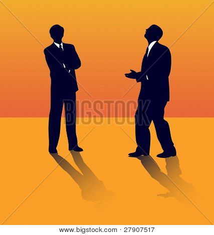 Two business silhouettes of people talking about job lose.