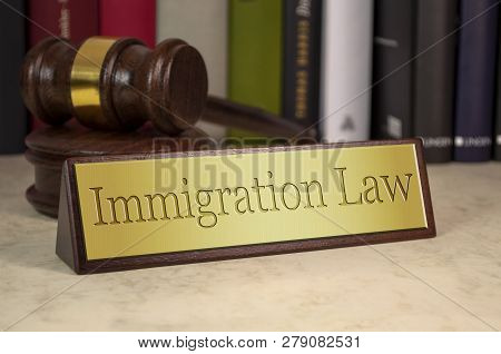 Golden Sign With Gavel And Immigration Law