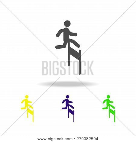 Overcoming Difficulties Colored Icons. Element Of Overcome Challenge Illustration. Signs And Symbols