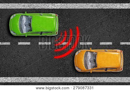Miniature Cars On Asphalt With Lane Keeping Assistant