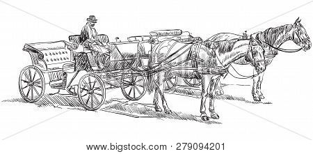 Vector Hand Drawing Illustration Horse-drawn Carriages With Coachman. Monochrome Vector Hand Drawing