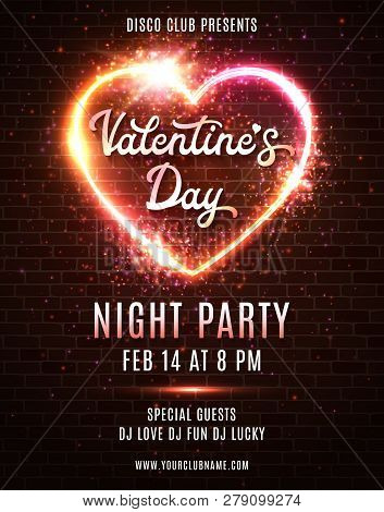 Valentines Day Party Poster Template Design On Dark Red Brick Wall Background. Night Disco Dance Par