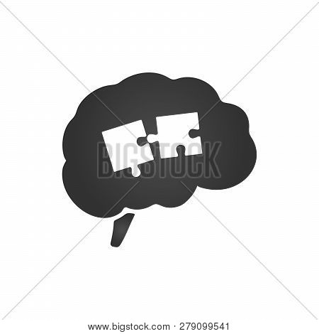 Brain Silhouette With Two Puzzle Pieces. Jigsaw Puzzle Brain. Intellect, Brain, Thought, Head, Idea.