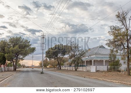 Carnavon, South Africa, September 1, 2018: An Early Morning Street Scene, With Historic Houses, In C